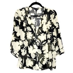 Banana Republic Sheer Peasant Floral Blouse Size M